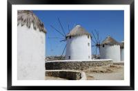Traditional Windmills on Mykonos, Framed Mounted Print