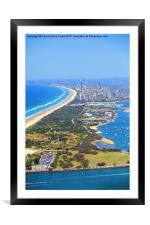 The Spit & Surfers Paradise Along the Gold Coast, Framed Mounted Print