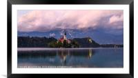 Lake Bled suset, Framed Mounted Print
