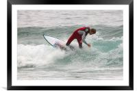 Surfing in Cornwall, Framed Mounted Print