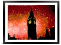 Big Ben - New Years Eve, Framed Mounted Print