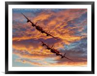 Out Of The Sunset - The 2 Lancasters 1, Framed Mounted Print