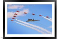 Final Vulcan flight with the red arrows 9, Framed Mounted Print