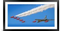 Final Vulcan flight with the red arrows 12, Framed Mounted Print