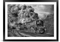 West Country Class Wadebridge Departs BW, Framed Mounted Print