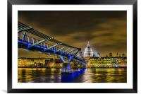 St Pauls and the Millennium Bridge, Framed Mounted Print