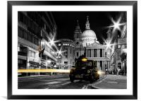 St pauls with Black Cab, Framed Mounted Print