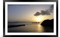 sunset over the bay, Framed Mounted Print