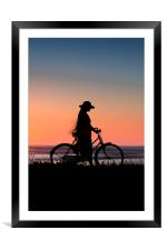 Silhouette Of Girl And Bike At Sunset Near The Sea, Framed Mounted Print