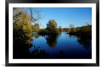November blue skies and water, Framed Mounted Print