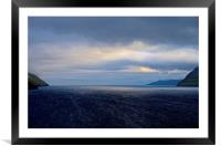 Leaving the Faroe Islands by Sea, Framed Mounted Print