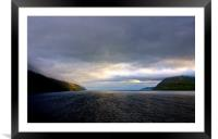 Leaving the Faroe Islands by Sea , Framed Mounted Print