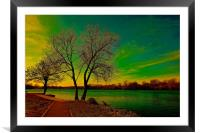 Evening sunset over the lake                      , Framed Mounted Print