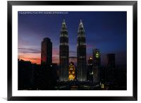 Petronas Towers in KL Malaysia, Framed Mounted Print