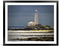 St Marys Island Lighthouse, Framed Mounted Print