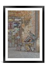 Old man and his accordion, Framed Mounted Print