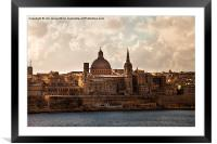 Valletta in morning sunshine, Framed Mounted Print