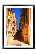 Valletta stairs, Framed Mounted Print