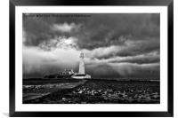 Storm clouds over St Mary's Island, Framed Mounted Print