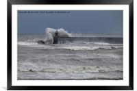 Stormy seas over South Shields Pier, Framed Mounted Print