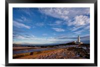 St Mary's Island at low tide., Framed Mounted Print