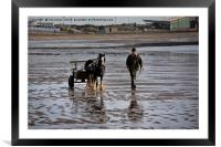 Horse and cart on the beach, Framed Mounted Print