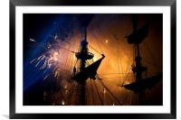 Fireworks behind the Yardarm, Framed Mounted Print