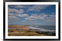 The beach at Seaton Sluice in Northumberland, Framed Mounted Print