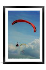 Paragliding on the coast, Framed Mounted Print