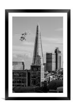The Shard helicopter fly past, Framed Mounted Print