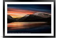 Lake Sunset Snowdonia, Framed Mounted Print