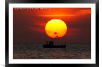 Sunset Fishing Boat Silhouette, Framed Mounted Print