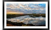 Sunrise over the quay or staithe at Thornham in N, Framed Mounted Print