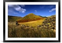 Lingmell end through the gap, Framed Mounted Print