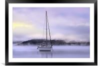 Boat in the dawn mist, Framed Mounted Print