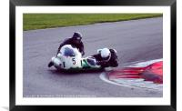 Racing sidecar at Snetterton racetrack , Framed Mounted Print