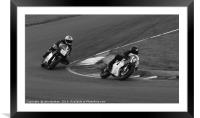 Racing bikes at Snetterton racetrack , Framed Mounted Print