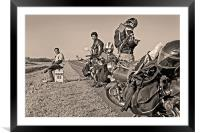 Bikers rest 153Kms before Indore, Framed Mounted Print