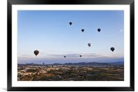 Cappadocia landscape filled with hot air balloons, Framed Mounted Print