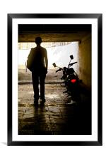 Man in dark place with a monster, Framed Mounted Print