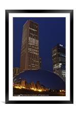 The Bean in Front of The AON Building, Framed Mounted Print