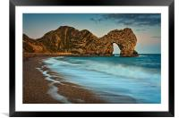 Stormy sea at Durdle Door, Framed Mounted Print