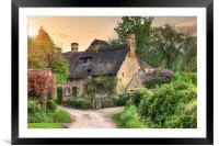 Cotswold cottage at sunset, Framed Mounted Print