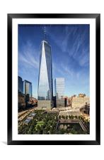 One World Trade Center Reflecting Pools, Framed Mounted Print