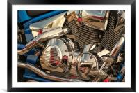 Blue and Chrome Engine, Framed Mounted Print