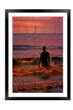 In the surf at Sunset, Framed Mounted Print