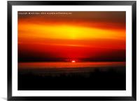 Distant Ships at Sunset, Framed Mounted Print