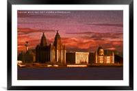 Liverpool Waterfront at Sunset (Digital Art), Framed Mounted Print