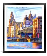 Royal Albert Dock And the 3 Graces, Framed Mounted Print