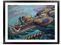 Dragon Mural painted, Framed Mounted Print